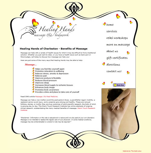 Website Design for Healing Hands Massage and Bodywork of Charleston